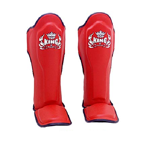 Top King Shin Guard Pro Genuine Leather Red/Black