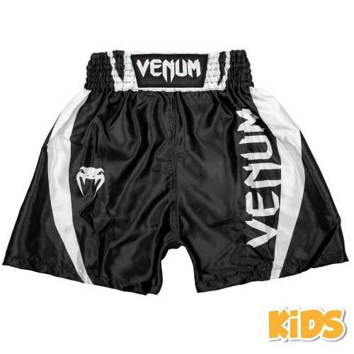 Venum Elite Kids Boxing Shorts - Black/White - The Fight Factory