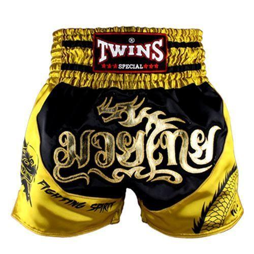 Twins Muay Thai Shorts Dragon Black Yellow - The Fight Factory