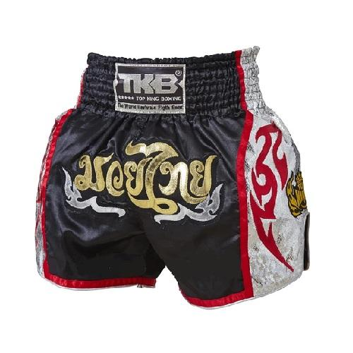 Top King Muay Thai Shorts Black-Silver Muaythai - The Fight Factory