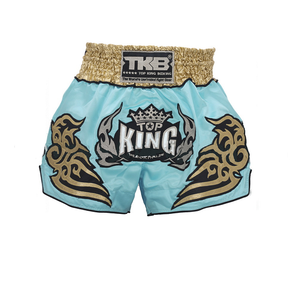 Top King Muay Thai Shorts Light Blue Gold - The Fight Factory