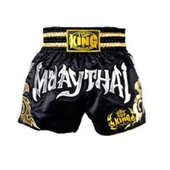 Top King Muay Thai Shorts Black Silver - The Fight Factory