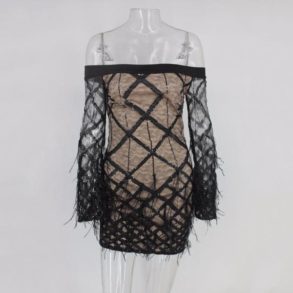 Y LABEL APPAREL: Amour Off Shoulder Feathered Dress - Y LABEL APPAREL
