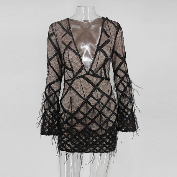 Y LABEL APPAREL: Amour Plunge Feathered Dress - Y LABEL APPAREL