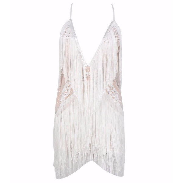 Y LABEL APPAREL: Angela Deep V Tassel Dress - Y LABEL APPAREL