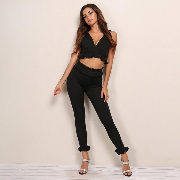 Aria Ruffle Pant and Crop Set-Y LABEL APPAREL