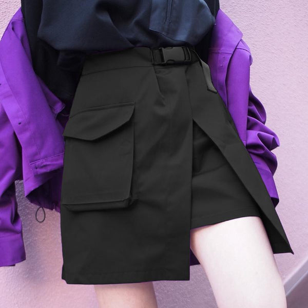 Y LABEL APPAREL: Asymmetric Canvas Belt Safari Skirt - Y LABEL APPAREL