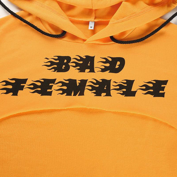 Y LABEL APPAREL: Bad Female Print Letter Crop - Y LABEL APPAREL