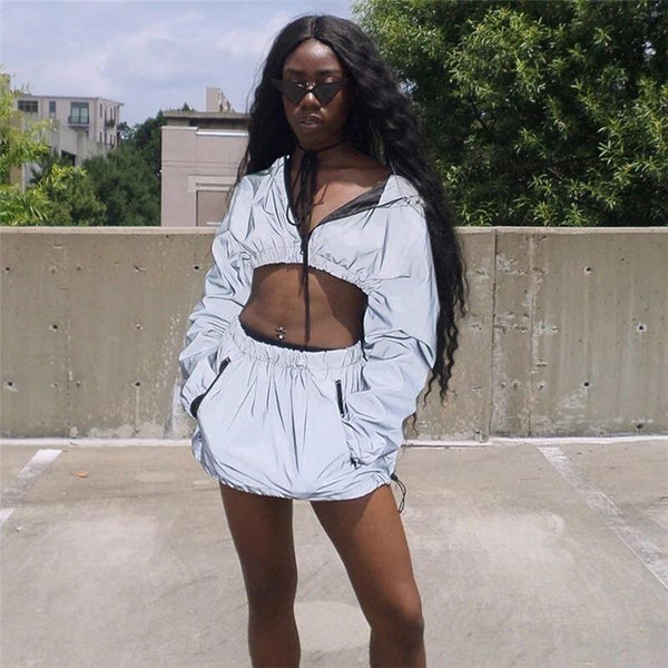 Y LABEL APPAREL: Blind Ambition Reflective Crop and Skirt Windbreaker Set - Y LABEL APPAREL