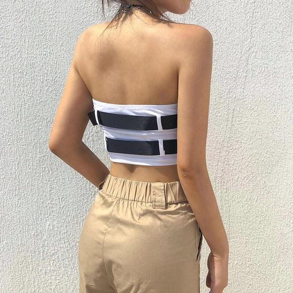 Y LABEL APPAREL: Buckle Up Tube Top - Y LABEL APPAREL