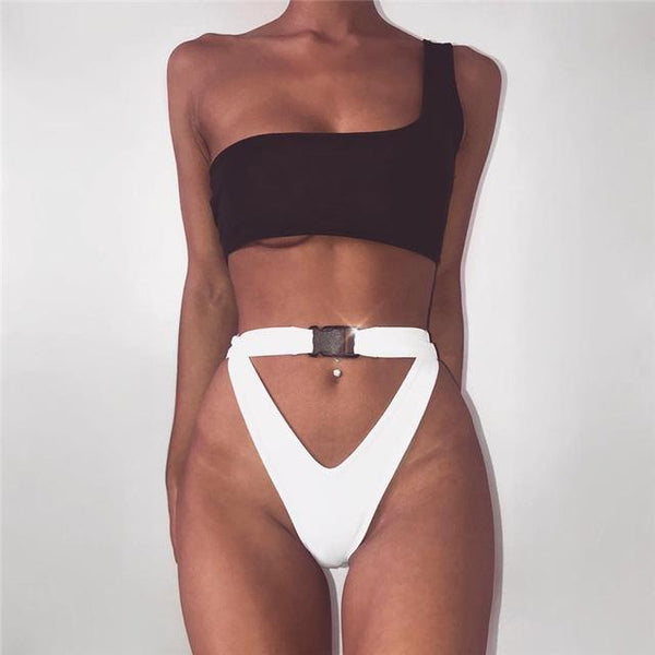 Y LABEL APPAREL: Cold Shoulder Belted Bikini Set - Y LABEL APPAREL
