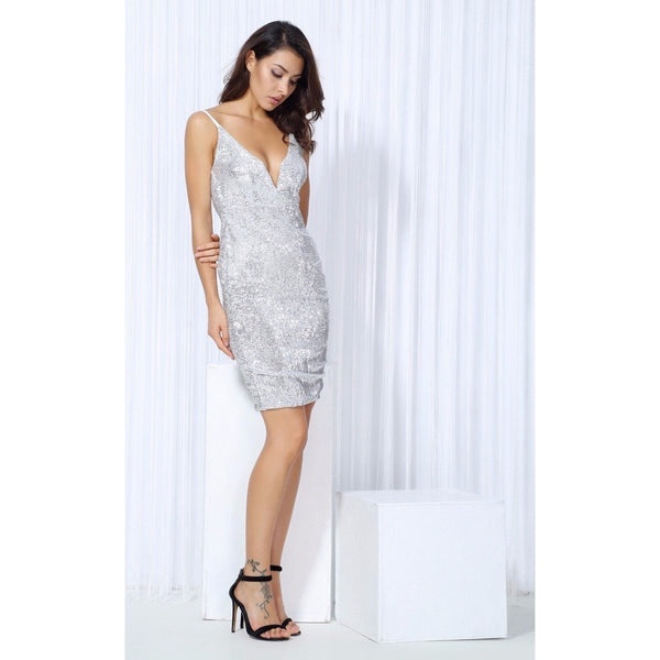 Y LABEL APPAREL: Diamond Girl Sequin Mini Dress - Y LABEL APPAREL