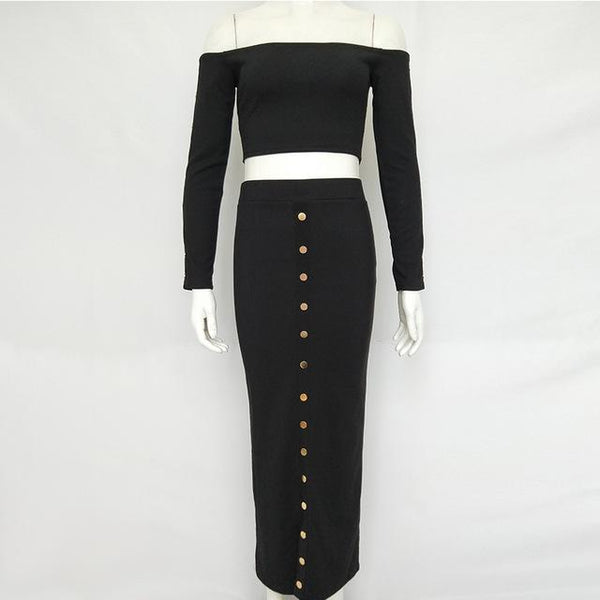 Y LABEL APPAREL: Falling in Love Ribbed Longsleeve Crop and Skirt Set - Y LABEL APPAREL
