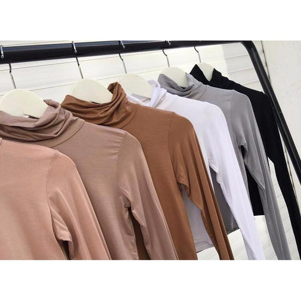 Y LABEL APPAREL: Fitted Longsleeve Turtleneck Crop - Y LABEL APPAREL