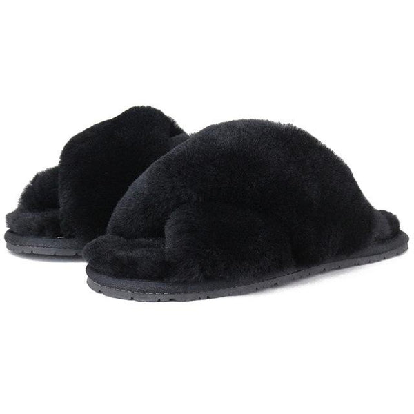 Y LABEL APPAREL: Fluffy Wool Crossover Fur Slides - Y LABEL APPAREL