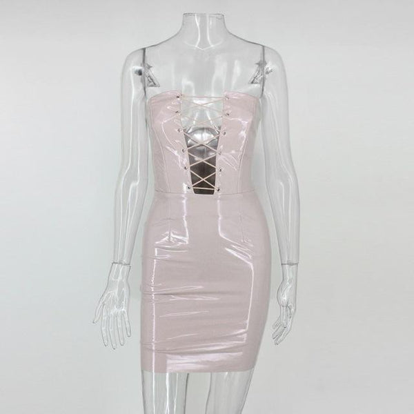 Y LABEL APPAREL: Galaxy Girl Lace Up Patent Dress - Nude Pink - Y LABEL APPAREL