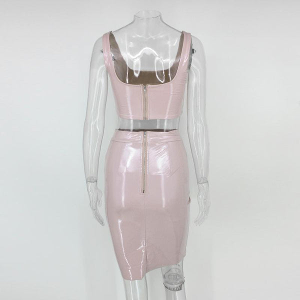 Y LABEL APPAREL: Galaxy Girl Patent Set - Pinky Nude - Y LABEL APPAREL