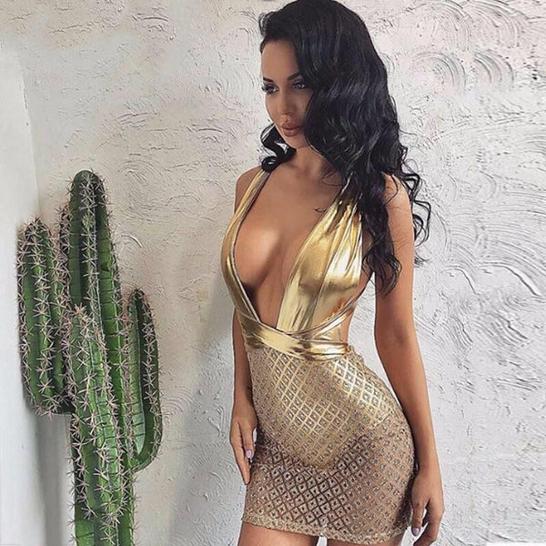 Y LABEL APPAREL: Golden Girl Sequin Lattice Bodysuit Dress - Y LABEL APPAREL