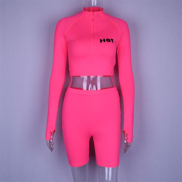 Y LABEL APPAREL: Hot Girl Neon Biker Short and Crop Set - Y LABEL APPAREL