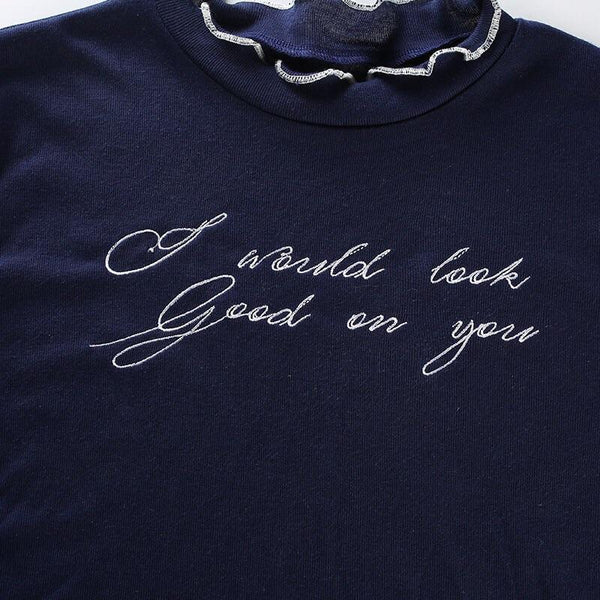 Y LABEL APPAREL: I Would Look Good On You Letter Crop - Y LABEL APPAREL