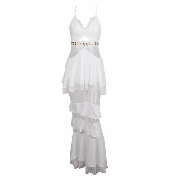 Y LABEL APPAREL: Lila Layered Lace Chiffon Maxi Dress - Y LABEL APPAREL