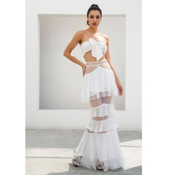 Y LABEL APPAREL: Lila Layered Lace Chiffon Tube Top and Skirt Set - Y LABEL APPAREL