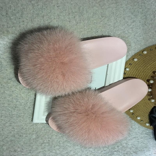 Y LABEL APPAREL: MAJESTY Fur Slides - Y LABEL APPAREL