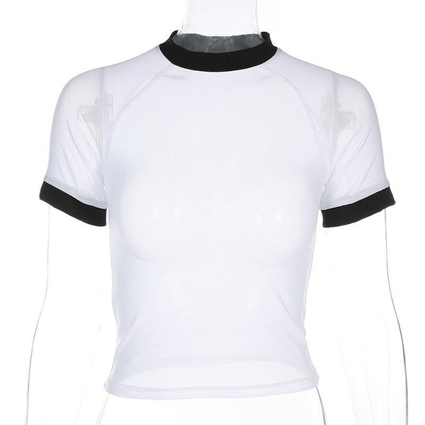 Y LABEL APPAREL: Mesh See-Through Baseball Tee - Y LABEL APPAREL