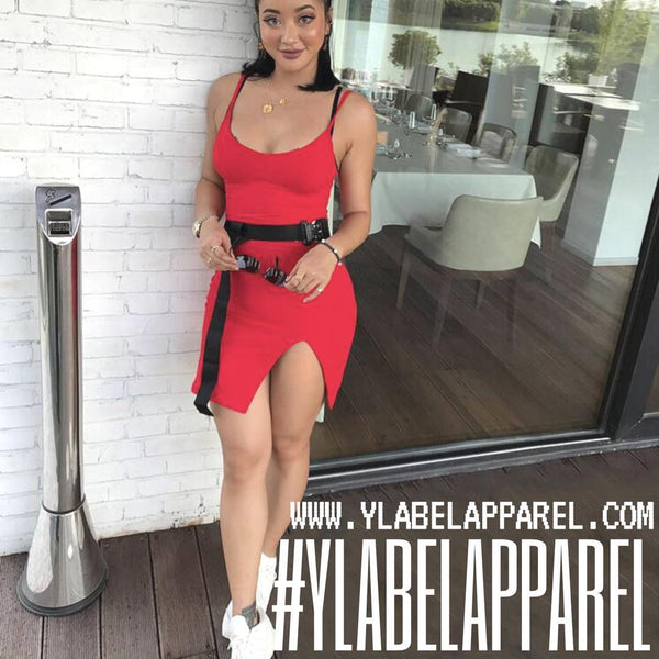 Y LABEL APPAREL: Mina Side Slit Fitted Cotton Midi Dress - Y LABEL APPAREL