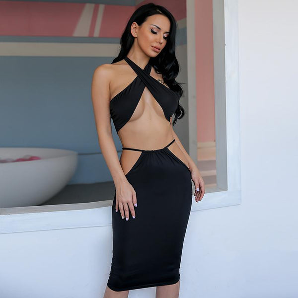 Y LABEL APPAREL: Multiway Cross Halter Top Dress Set - Y LABEL APPAREL