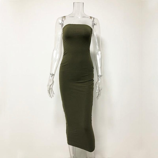 Y LABEL APPAREL: No Copy Fitted Strapless Maxi Dress - Y LABEL APPAREL