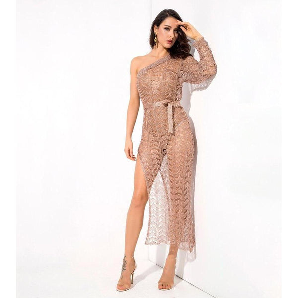 Y LABEL APPAREL: Nude Beach Belted Rose Gold Dress - Y LABEL APPAREL
