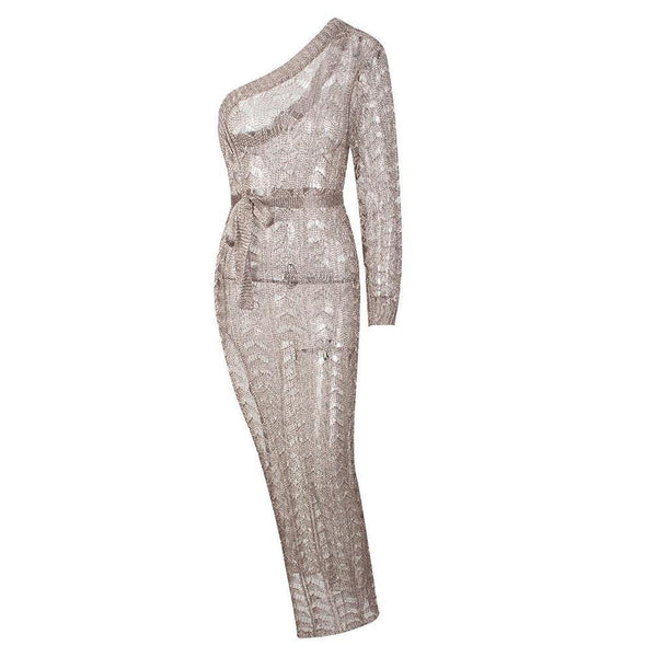 Y LABEL APPAREL: Nude Beach Belted Silver Dress - Y LABEL APPAREL