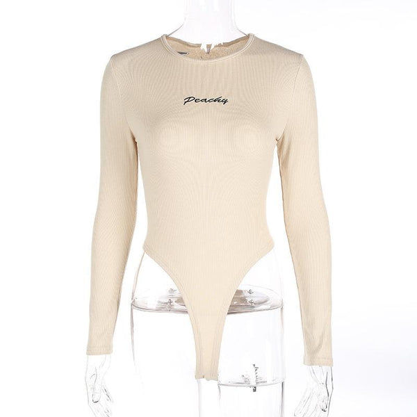 Y LABEL APPAREL: Peachy Ribbed Longsleeve Bodysuit - Y LABEL APPAREL