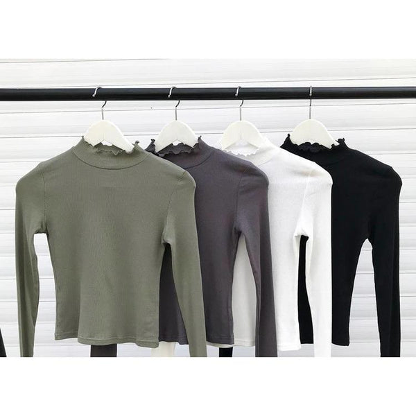 Y LABEL APPAREL: Petal Neck Ribbed Fitted Cotton Longsleeve - Y LABEL APPAREL