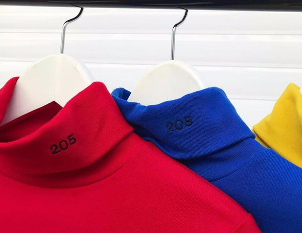 Y LABEL APPAREL: 205 Cotton Letter Turtleneck - Y LABEL APPAREL