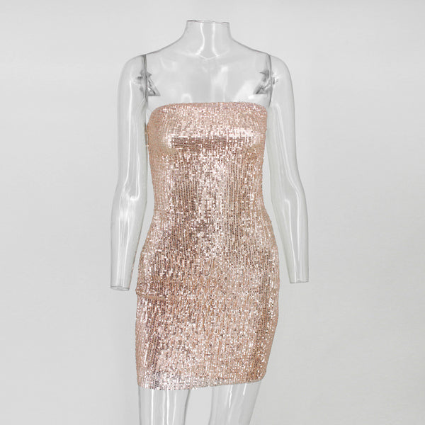 Y LABEL APPAREL: Pass The Bubbly Strapless Sequin Mini - Y LABEL APPAREL