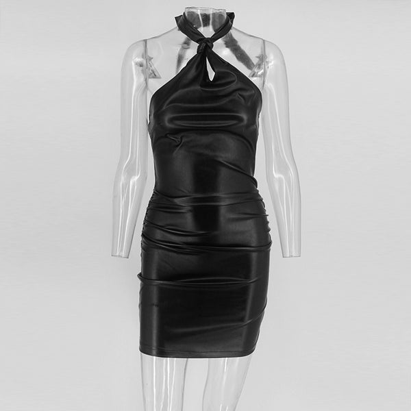 Y LABEL APPAREL: Spice Life Faux Leather Mini Dress - Y LABEL APPAREL