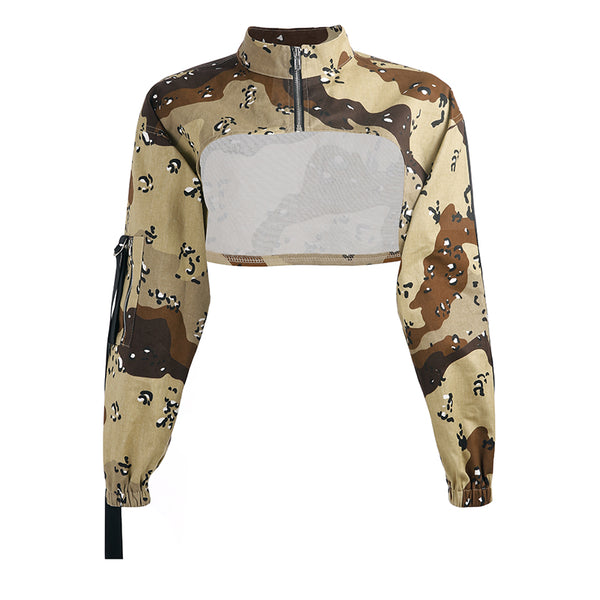 Y LABEL APPAREL: Major Camouflage Crop Top - Y LABEL APPAREL