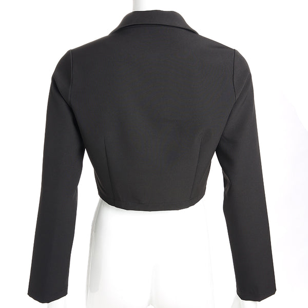 Y LABEL APPAREL: Buckle Up Crop Blazer - Y LABEL APPAREL