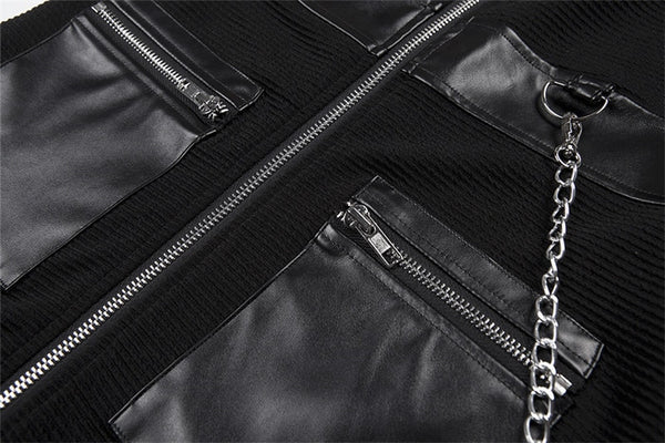 Y LABEL APPAREL: Maxed Out Faux Leather Zip Mini - Y LABEL APPAREL