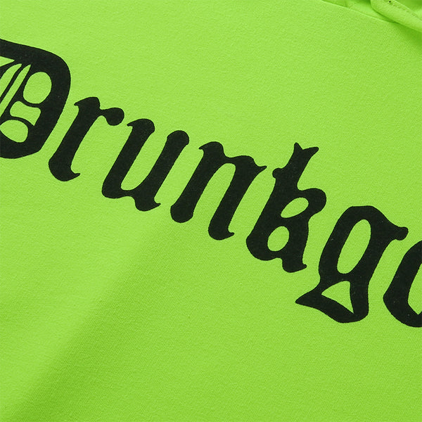 Y LABEL APPAREL: Drunkgod Oversized Neon Hoodie - Y LABEL APPAREL