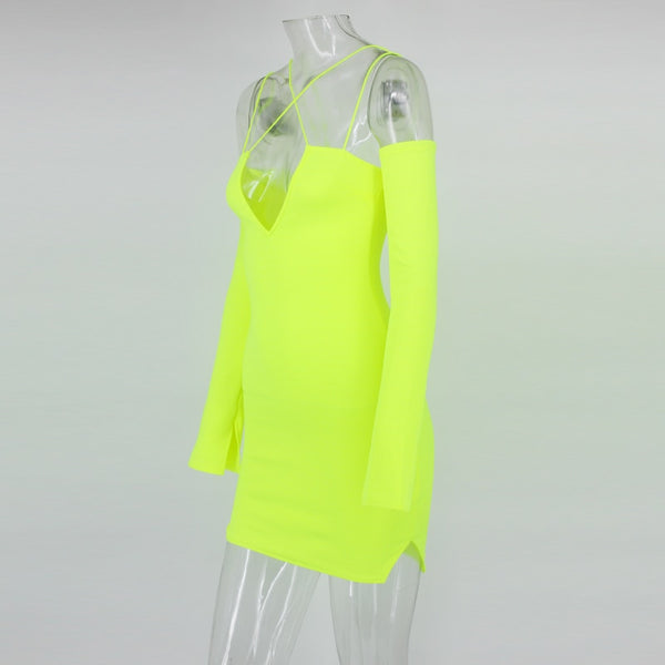 Y LABEL APPAREL: Don't Cross Me Neon Mini - Y LABEL APPAREL