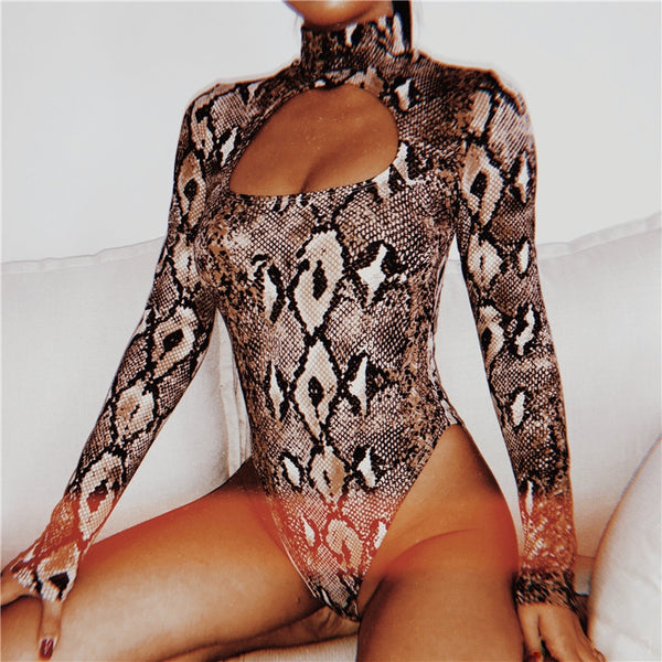 Y LABEL APPAREL: Viper Snake Print Bodysuit - Y LABEL APPAREL