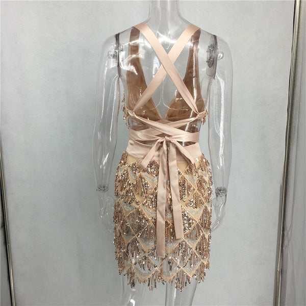 Y LABEL APPAREL: Made To Standout Sequin Tassel Mini Dress - Y LABEL APPAREL