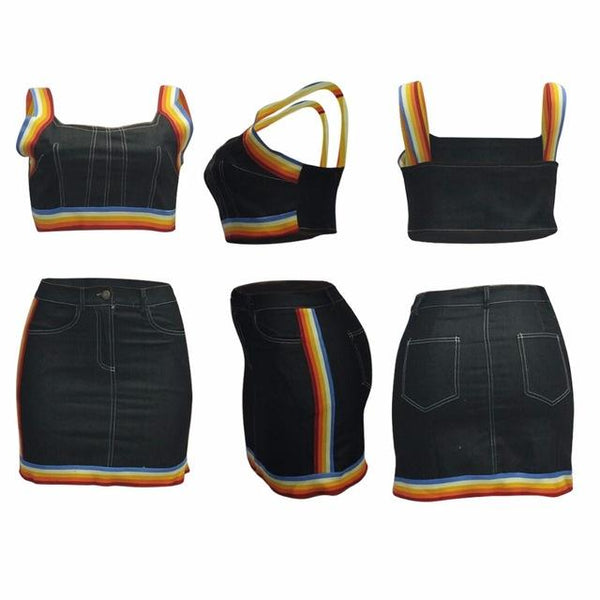 Y LABEL APPAREL: Rainbow Road Denim Set - Y LABEL APPAREL