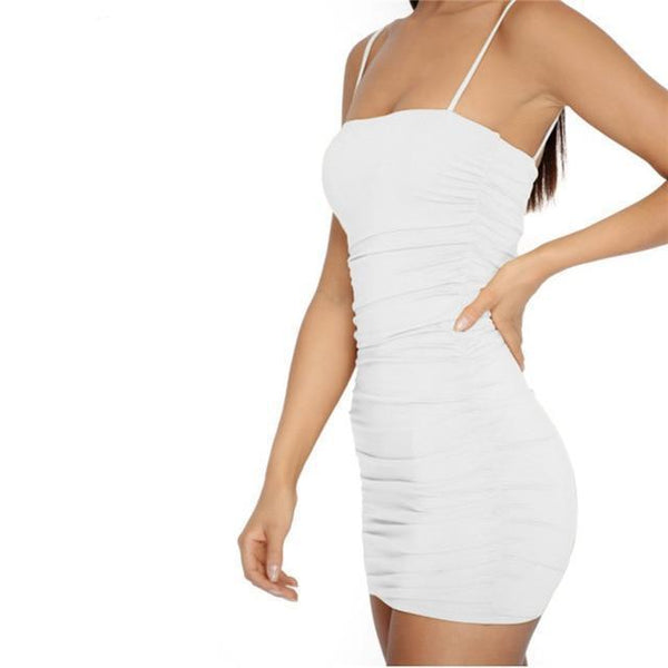 Y LABEL APPAREL: Ring The Alarm Ruched Mini Dress - Y LABEL APPAREL