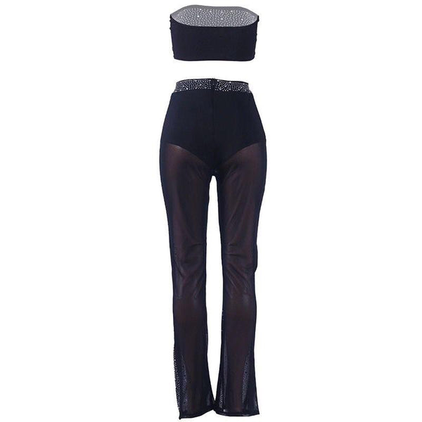 Y LABEL APPAREL: Sass and Class Mesh Rhinestone Crop and Pant Set - Y LABEL APPAREL