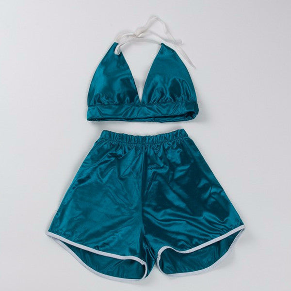 Y LABEL APPAREL: Satin Shorts Two Piece Set - Lagoon Blue - Y LABEL APPAREL