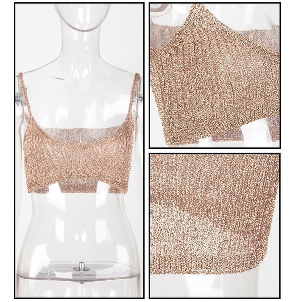 Y LABEL APPAREL: Stay Gold Knit Round Neck Crop - Y LABEL APPAREL